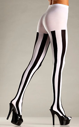 Opaque Vertical Stripe Tights Black and White