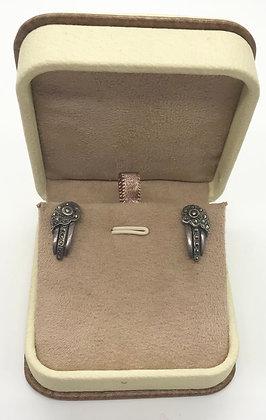Vintage Floral Marcasites Silver Earring