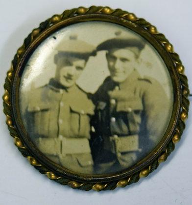 Vintage Pair of Solders Portrait Brooch Pin