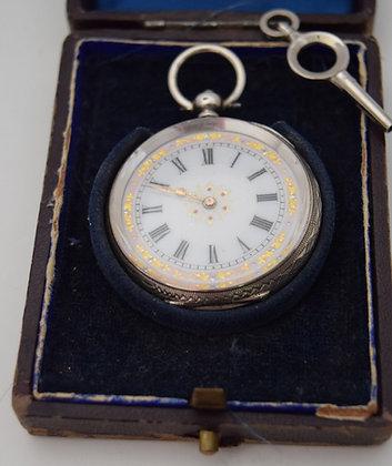 Antique Hallmark Sterling Silver Pocket Watch