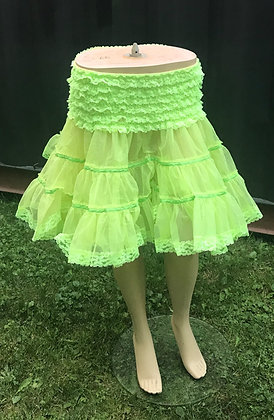 Deluxe Lime Green Petticoat Crinoline with Ruffles & Lace