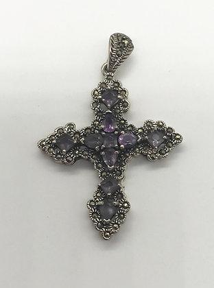 Fancy Silver Cross with Amethyst Gemstones & Marcasites Pendant