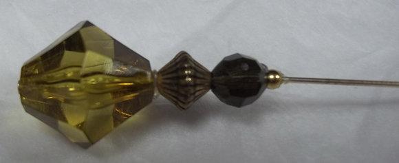 Hatpin Yellow Acrylic Diamond Bead