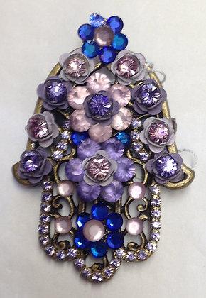 Jewish Hamsa Floral Design Brooch Pin