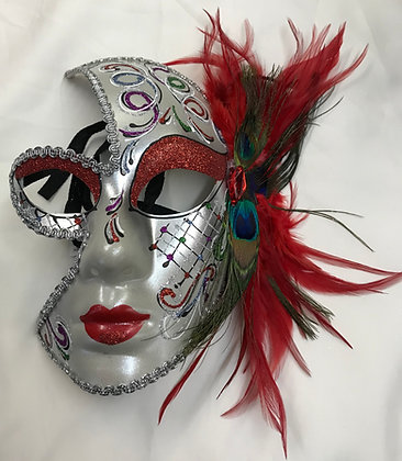 Full Face Decorative Masquerade Mask with Red Feathers