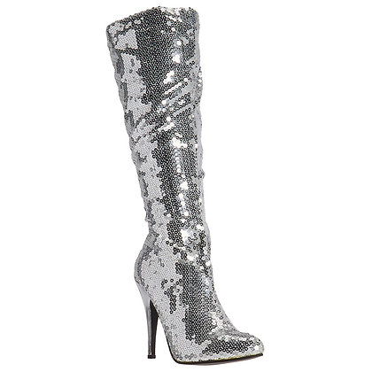 Silver Sequin High Cut Party Boots Size 12 & 14