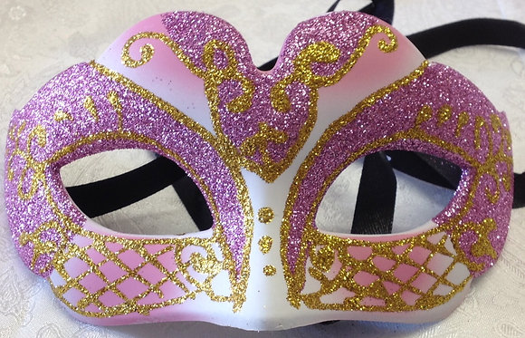 Petit Sparkle Masquerade Mask Pink, Gold and White