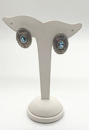 Eleganza Oval Shpae Silver, 18k Gold and Blue Topaz Earrings