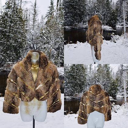 Vintage Bebe Rabbit Fur Party Jacket Size Large