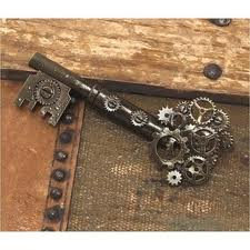 Steampunk Metal Key Brooch