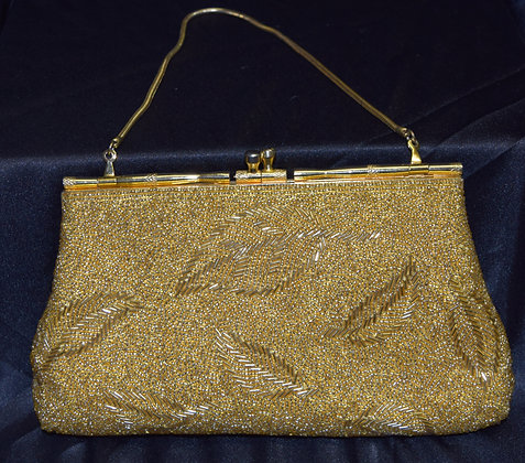Vintage Clutch Evening Purse Gold Beaded