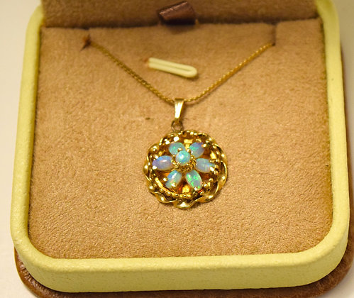 Antique 14k Gold Necklace with Opal Pendant