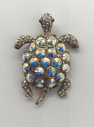 Turtle Brooch Pin With Aurora Borealis Rhinestones