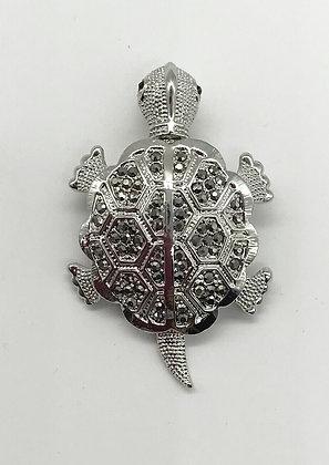 Movable Head & Tale Turtle Brooch & Pendant with Black Rhinestones