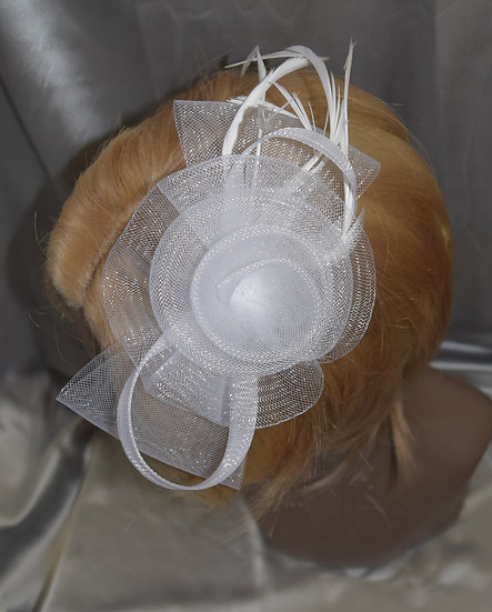 Fancy Fascinator White with Feather Clip Style