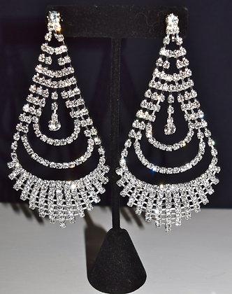 Rhinestone Chandelier Clip-on Earrings