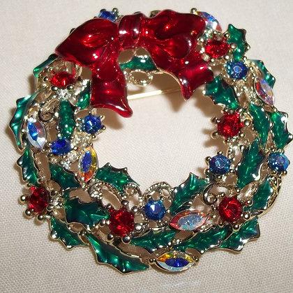 Christmas Wreath Brooch Pin