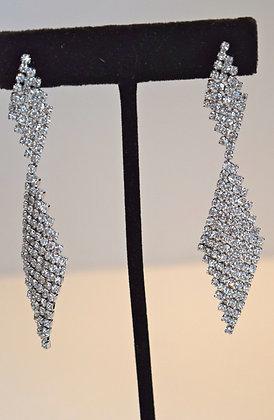 Diamond Shape Costume Earrings Silver Colour