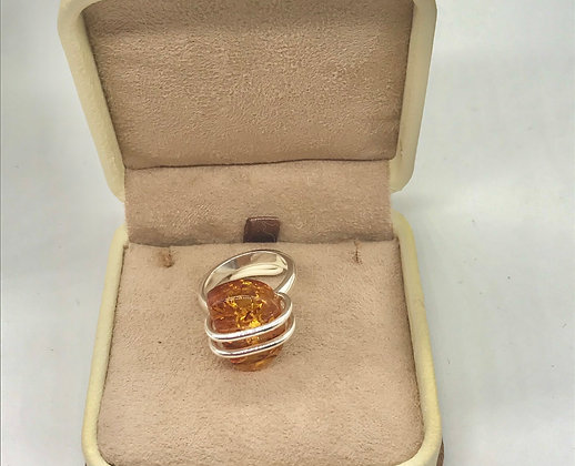 Cognac Baltic Amber Floral Design Ring Size 8 1/2
