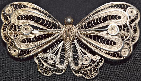 Antique Handmade Filigree Butterfly Brooch Pin