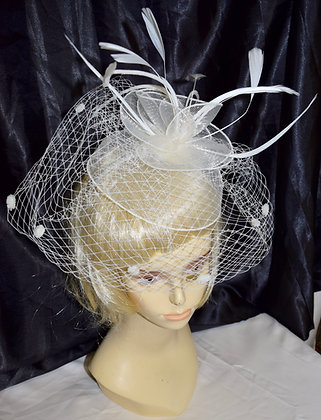 Floral, Birdcage & Feather Style Fancy Fascinator Ivory