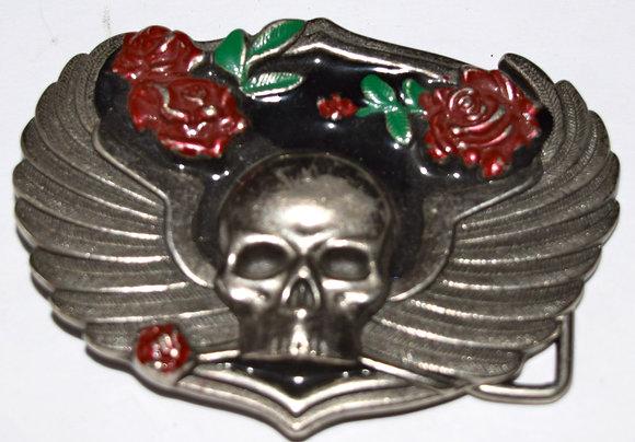 Vintage Skull & Rosses Belt Buckle