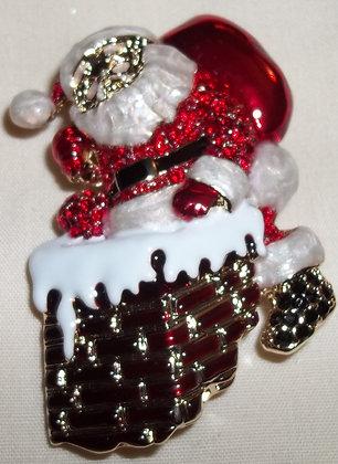 Christmas Santa Clause Brooch Pin & Pendant