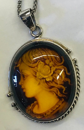Vintage Carved Amber Cameo Set in Silver Pendant with Chain
