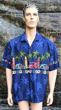 Vintage Hawaiian Aloha Luau Shirt Blue with Surf Boards, Cars and Palm Trees XL