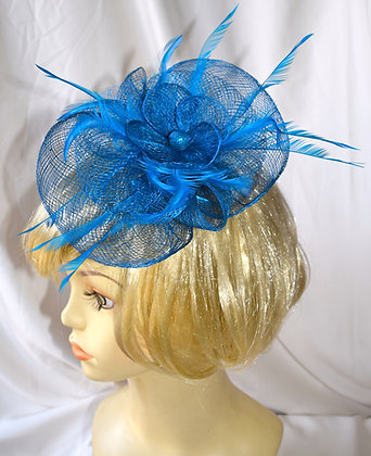 Turquoise Blue Floral Fancy Fascinator with Feathers