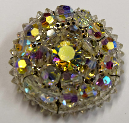 Vintage Crystal Round Shape Costume Brooch Pin