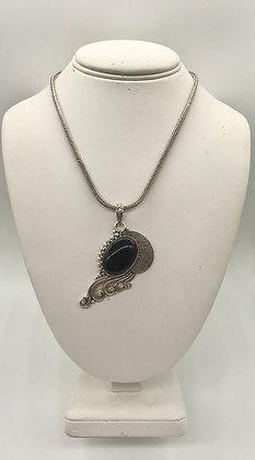 Vintage Black Onyx Gemstone Set in Silver 925 BA Necklace