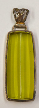Lime Green Rectagular Shape Baltic Amber Pendant