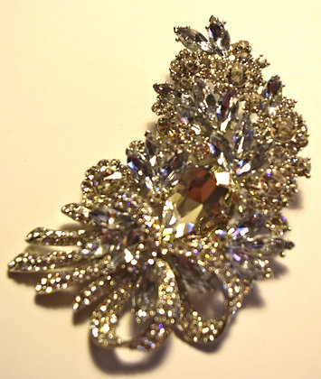 Large Floral with Ribbon Brooch Pin & Pendant