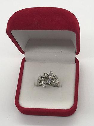 18K White Gold Custom Made with European Cut Diamonds Ring