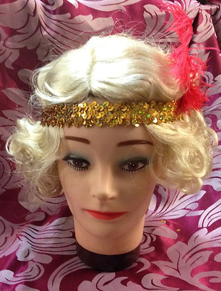 Gold Sequin Flapper Headband with Ostrich Feather