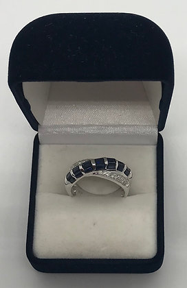 14K White Gold with Sapphires & Diamonds Ring