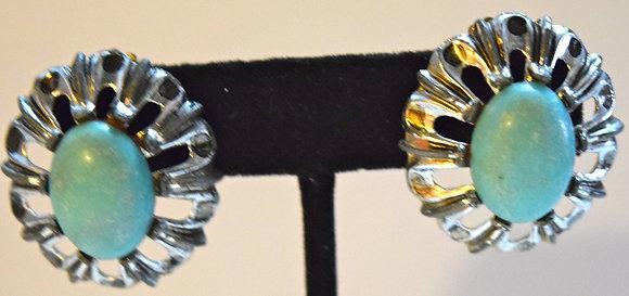 Vintage Costume Oval Shape Clip On Earrings