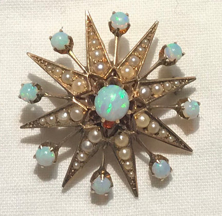 Antique 14K Yellow Gold Star Brooch Pin & Pendant with White Opals & Seed Pearls