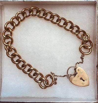 Vintage 375 9k Gold Hallmarked Medium Heart Shape Padlock Clasp Charm Bracelet