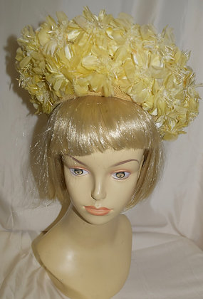 Vintage Yellow Floral 1960's Fancy Summer Hat