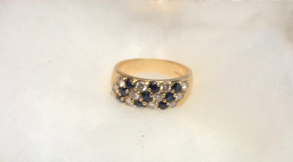 Vintage 14K Gold with Sapphire and Diamonds Ring