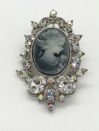 Grey Costume Cameo Brooch Pin and Pendant with Clear Rhinestones