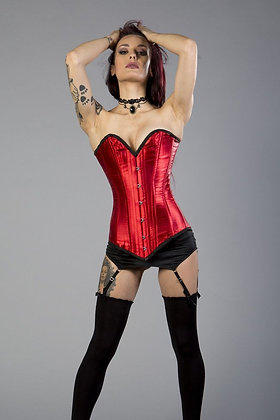 Burleska Red with Black Trim Victorian Steel Boned Satin Finish Corset