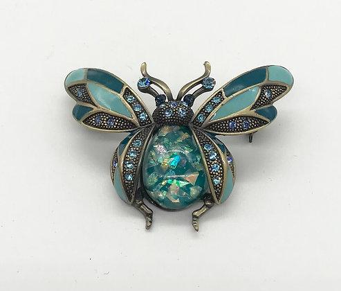 Ladybug Brooch Pin Wings Open Blue