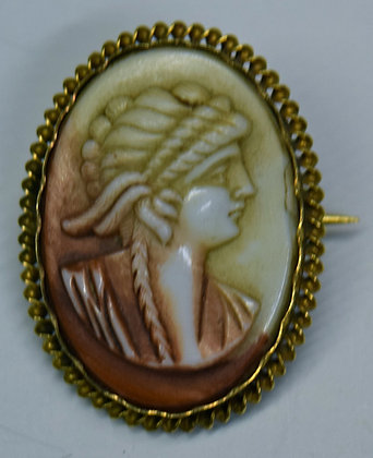 Antique Shell Cameo with 14k Brooch Pin