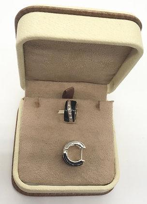 Black Onyx, Cubic Zirconia and Silver Hoop Earrings