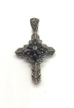 Fancy Silver Cross with Garnet Gemstones & Marcasites Pendant