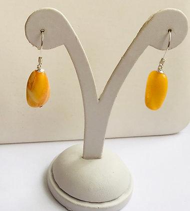 Irregular Shape Natural Butter Baltic Amber & Silver Drop Earrings