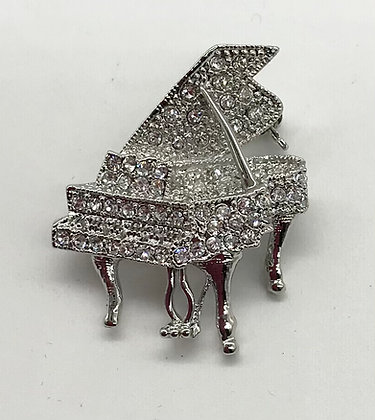 Grand Piano Brooch Pin Clear